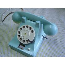 Juguete Antiguo Teléfono De Cuerda Lámina Y Plástico