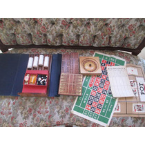 Set Juegos Drueke Raro De Madera Ruleta Backgammon Antiguo