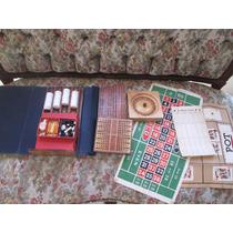 Set Juegos Drueke Raro De Madera Ruleta Backgammon Antiguo