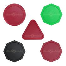 Set De 5 Discos De Hockey De Mesa Casero/ Formas Y Colores