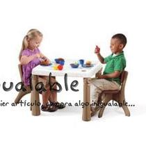 Mesa Para Niños De Plástico Blanca Y Café