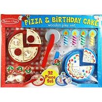 Melissa & Doug Y Pizza Pastel De Cumpleaños De Madera Set Ju