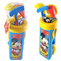 Mickey Mouse Con Golf Caddy Y 3 Palos De Golf En Bolsa