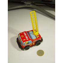 Vintage Mini Camión Bomberos Fricción Metal Y Plástico Otro