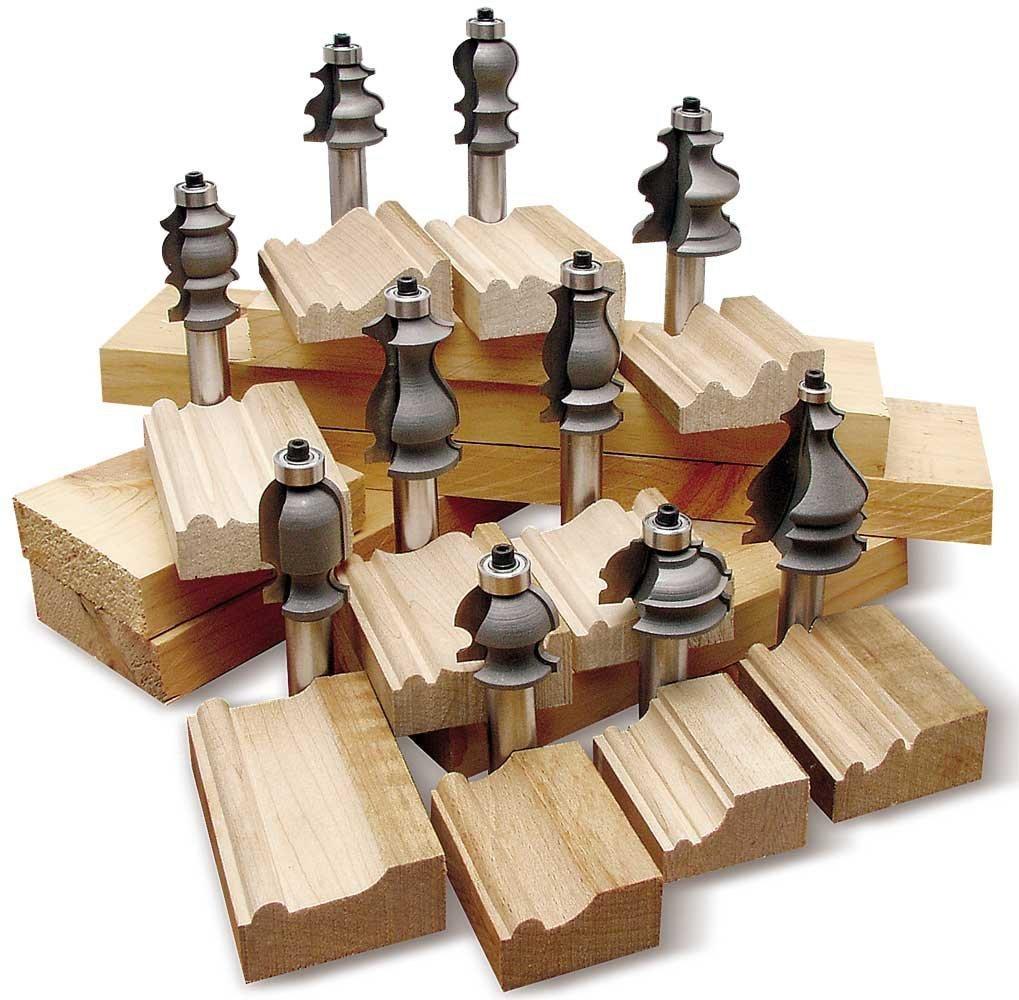 Kit 10 brocas fresas puntas para molduras de madera hm4 for Molduras de madera