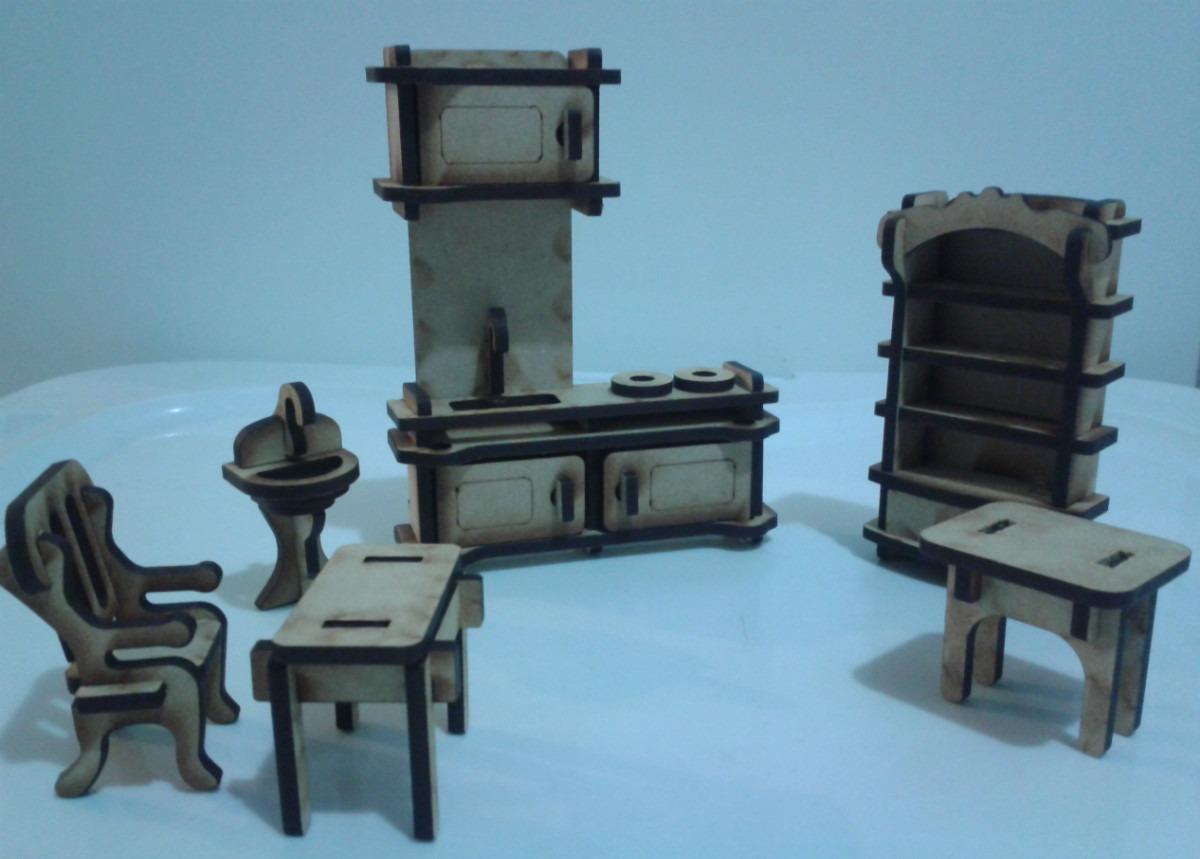 Kit de 34 muebles mdf para casa de mu ecas en for Muebles casa de munecas