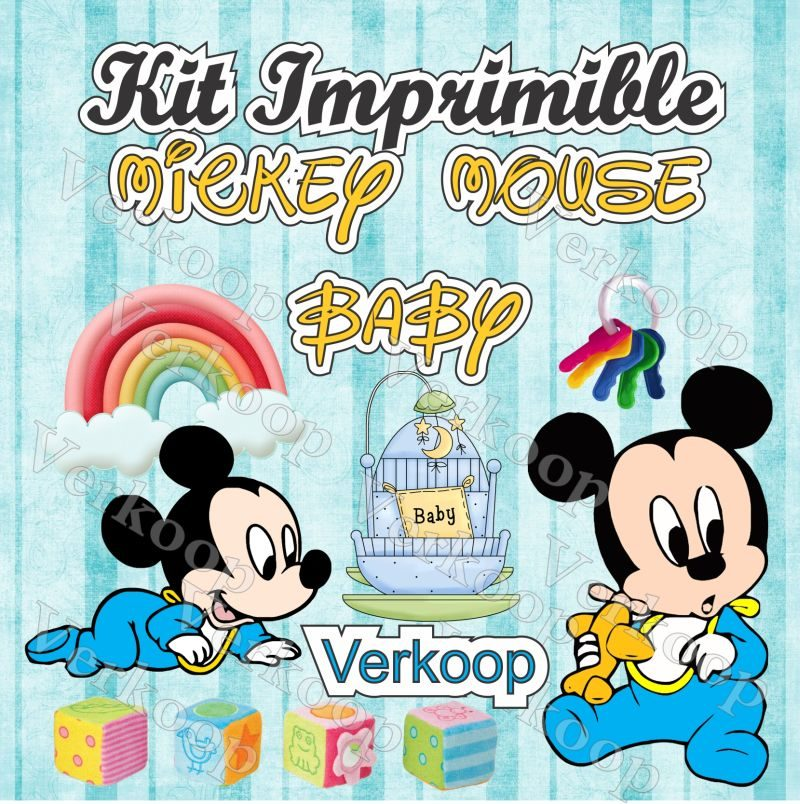 Kit Imprimible Mickey Mouse Bebe Invitaciones Tarjetas - $ 180.00 ...