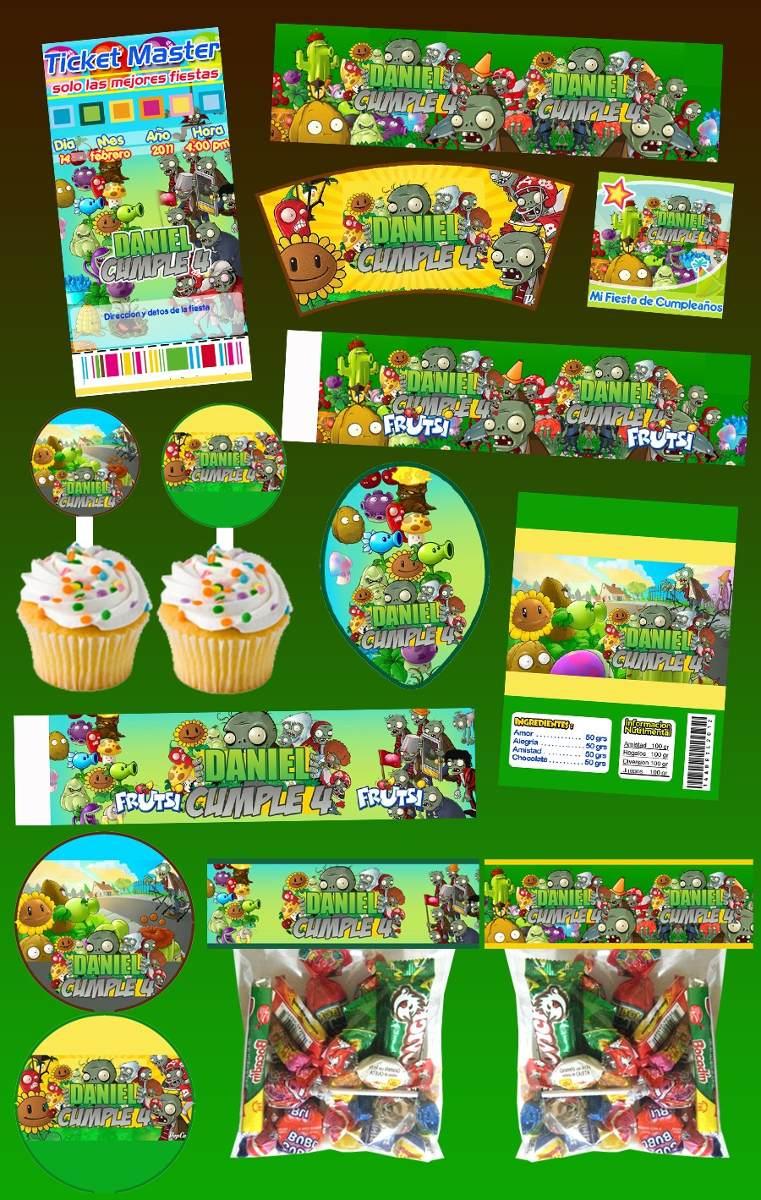 Kit imprimible plantas vs zombies personalizado 30 - Etiquetas para plantas ...