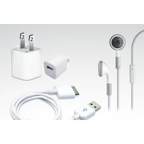 Kit Iphone Ipod Audifonos Manos Libres + Cargador + Cable