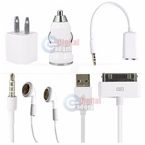 Set Kit 5 En 1 Cargador Pared Auto Manos Libres Iphone Ipod