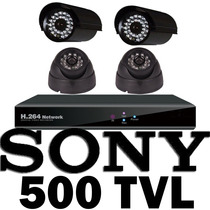 Kit Cctv Vigilancia 4 Camara 500 Tvl Sony Acceso Remota Daa
