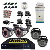 Kit Cctv 4 Cám. Con Zoom Manual, 2 Bullet-2 Domo, Tecnología