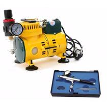 Kit Sistema De Maquillaje Aerografo Y Compresor Profesional