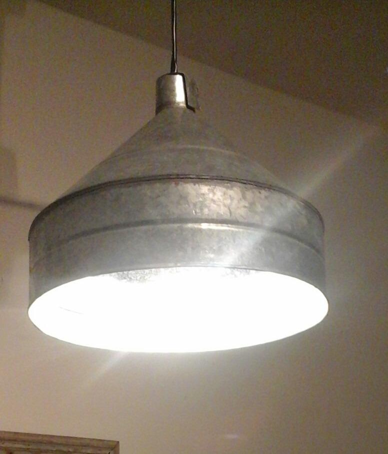 Lampara colgante estilo industrial vintage galvanizada - Lampara tipo industrial ...