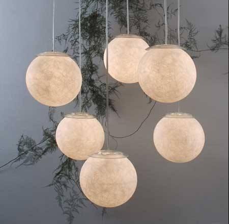 Lampara esfera de fibra de vidrio luz neon led - Como hacer lamparas de techo modernas ...
