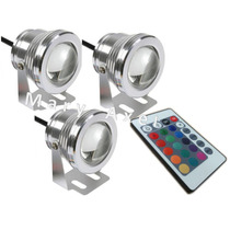 Reflector Led Sumergible Rgb Promocion X 3 Incluido Control