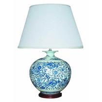 Lámpara Tradicional - Porcelana Azul Y Pantalla De Tela