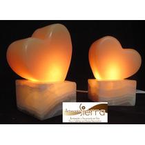 Jgo. 2 Lámparas De Onix Corazón 15 Cms.altura