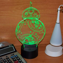 Lámpara Led Rgb 3d Acrílico Star Wars Bb8 Video