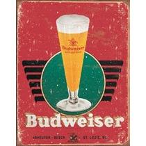 Poster Metalico Litografia Lamina Decorativa Budweiser Retro