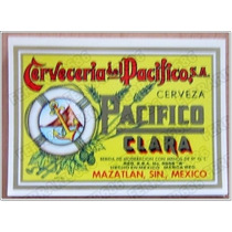 Set 9 Etiquetas De Papel - Cerveza Pacifico / Vintage 70