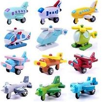 Conjunto De 12 De Madera Modelo De Avión Juguetes Educativos