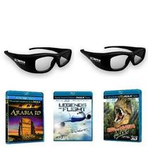2 Pares De Lentes 3d + 3 Peliculas Imax 3d Blu-ray