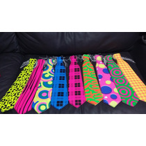 100 Corbata Neon Color Fiesta Batucada Paquete Glow Fosfo