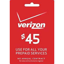 Verizon $ 45 Prepago Recarga Pin Mensual / Plan De Pay As Yo