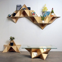 Librero Triangular. Mesa Auxiliare, Mesa De Centro