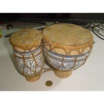 Vintage Bongoes Africanos En Cerámica Y Piel