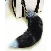 Deetto Hi-q Real Piel Fox Tail Key Chain Tecla Suave Cuelgue