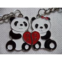 Osos Panda Precioso Par De Llaveros Metálicos Oso Panda 0899