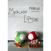 Pack 2 Llaveros Peluche Hongo Rojo + Verde Mario Bros Nuevos