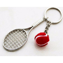 Raqueta De Tenis Con Pelota Precioso Llavero Metálico 0139