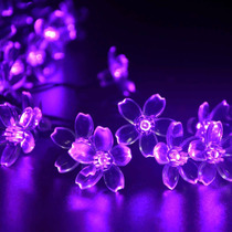 Luces Flores Solares 21ft 50 Led Morado Para Decoracion