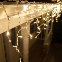 Cascada Led 300 Luces 6 Mts Decoracion Navidad Calida Ambar