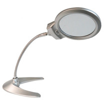 Lupa Redonda Con Base V Color Gris Y Luz Led De 2.25 - 5x