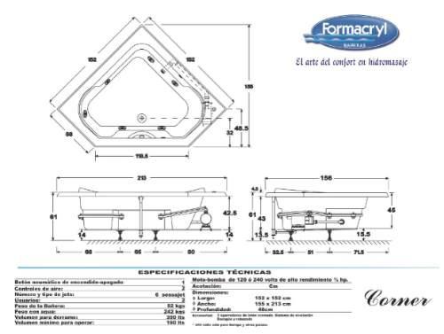 Tinas De Baño Dimensiones:Maa Tina De Hidromasaje Corner, Formacryl – $ 17,17900 en