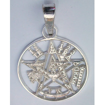Dije De Plata Sterling Sv.925 Tetragramaton Pentagrama 30mm