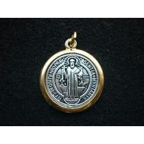 Medalla De San Benito En 7 Metales Virgenes Y Chapa De Oro