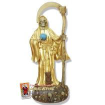 Figura Santa Muerte Dorada - En Resina 42 Cm Altura
