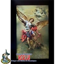 Cuadro De San Miguel Arcangel - Cromo Sobre Manta