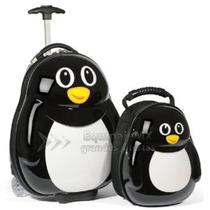 Juego De Maleta 17 Y Mochila Policarbonato Rígido Pingüino