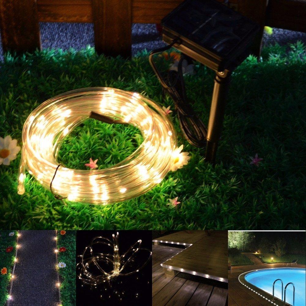 Manguera de 50 luces led solares navidad colores for Luces led jardin