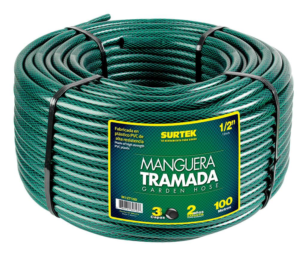 Manguera tramada verde 1in rollo 50m m1t50 surtek for Antorchas para jardin precio