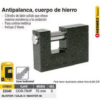 Candado Antipalanca 70 Mm Cuerpo Hierro Hermex