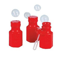 Botellas De Bubble Fun Expreso Mini Hexágono Rojas (4 Docena