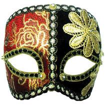 Masquerade Costume - Rojo Negro Flor Oneye Oro Máscara Band