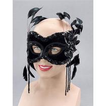 Masquerade Costume - Terciopelo Negro Cara Máscara De Ojo D